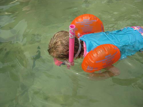 Rosalie kan ook snorkelen