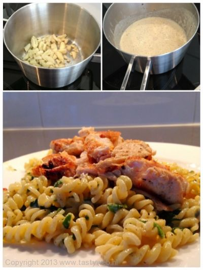 Photo: Grilled Chicken with pasta and garlic cream